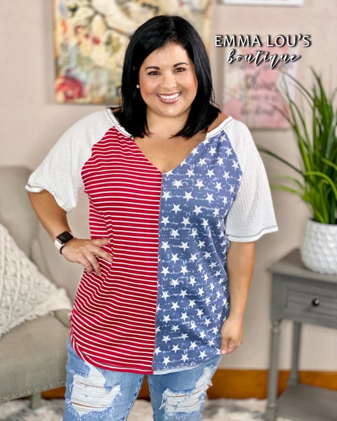 4th of July Star Print Knit Top with Front Print Block and Stitching Detail