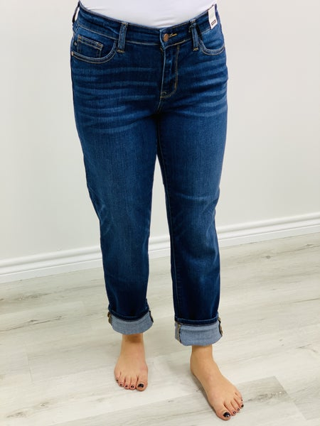 "Judy Blue ""Tara""  Handsand Cuffed No Distressing Boyfriend Denim Jeans"