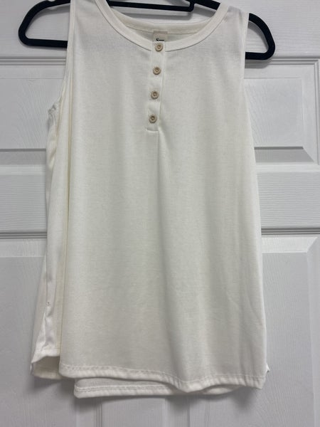 Sleeveless Top with Faux Buttons