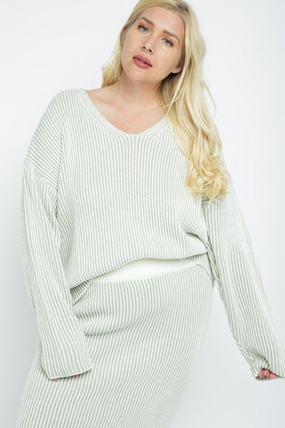 Two Tone V-Neck Sweater Top