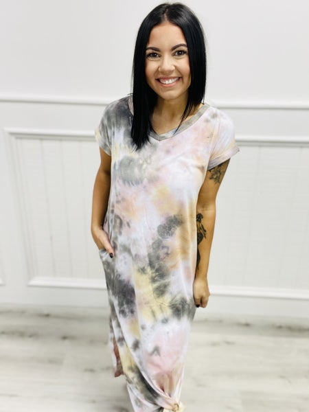 Tie Dye Tri Blend V Neckline Maxi Dress.