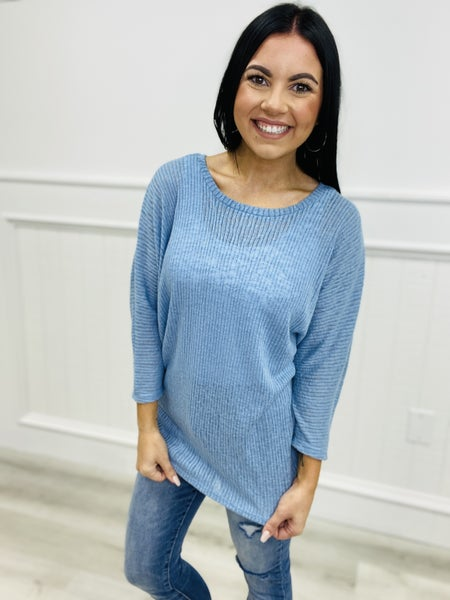 Dolman 3/4 Sleeve Sweater with Criss Cross Detail Back