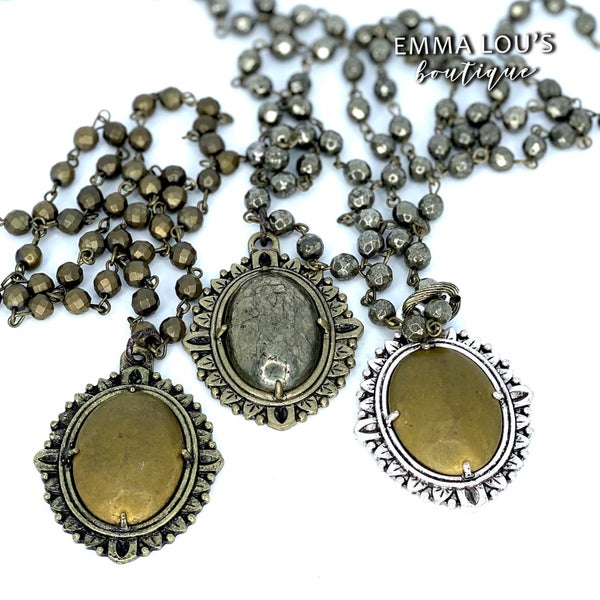 Melania Clara Long Beaded Necklace with Pendant