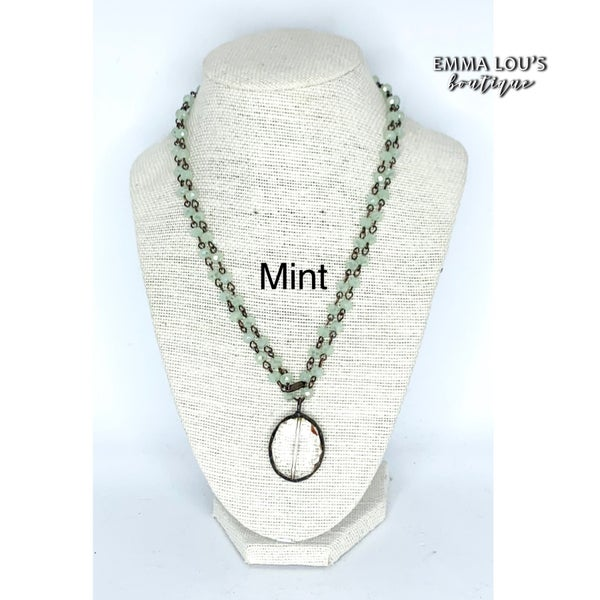 Melania Clara Long Beaded Necklace with Oval Pendant