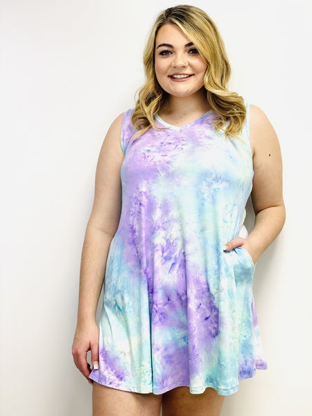 Sleeveless Tie Dye Knit Dress