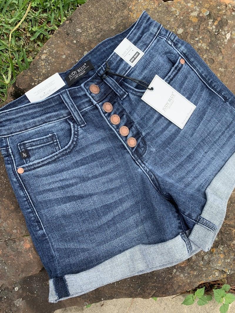 Judy Blue High Waist Button Fly Cuffed Shorts