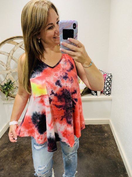 Daily Deal - Sleeveless Top with Bright Front Accent Pocket