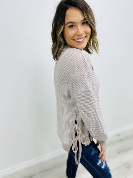 Waffle Knit Top with Lace Up Side Slits