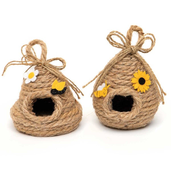 BEE SKEPS WITH HANGER, TWINE BOW AND BEE/FLOWER DECORATIONS