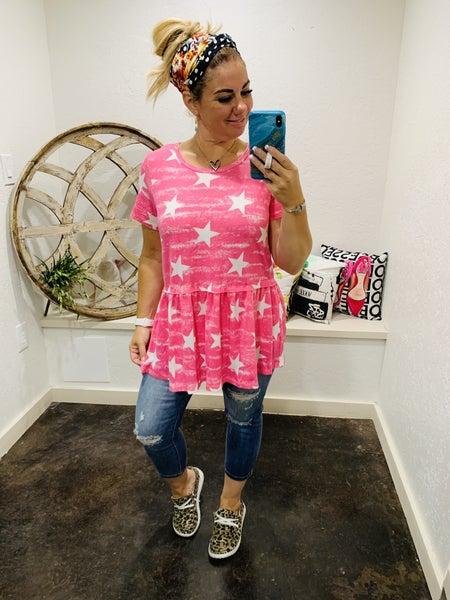 honeyme Babydoll Star Print Short Sleeve Top