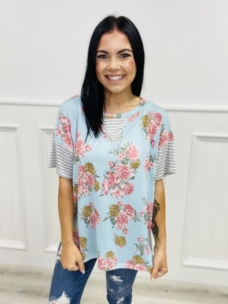 Short Sleeve Floral Print Top