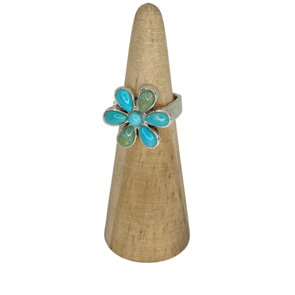 Sterling Silver Flower ring with real stone