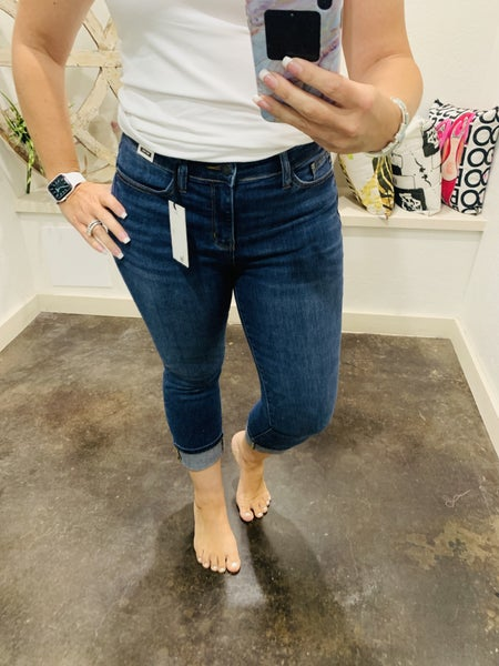 "Judy Blue Non Distressed 22""Inseam Cuffed Denim Jean"