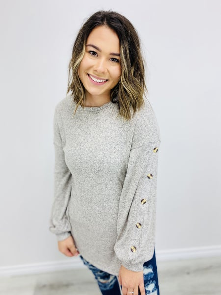 Solid Knit Top with Puff Sleeve