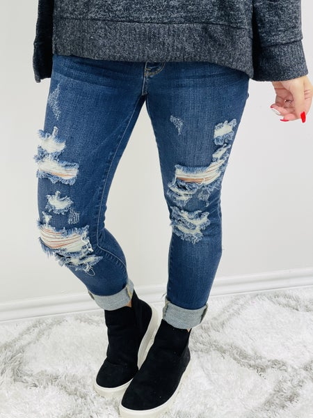 "Judy Blue ""Patricia""  Mid Rise Destroyed Skinny Jeans"