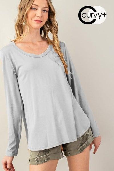 Basic Cotton Modal Curved Hem Knit Top