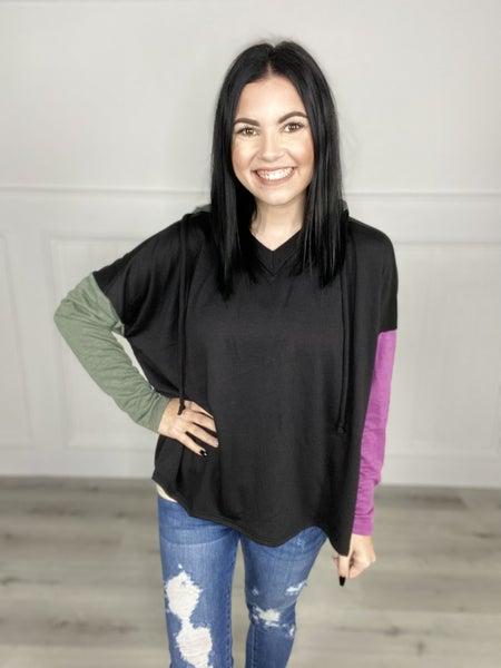 Long Sleeve Color Block Knit Hoodie - ORL