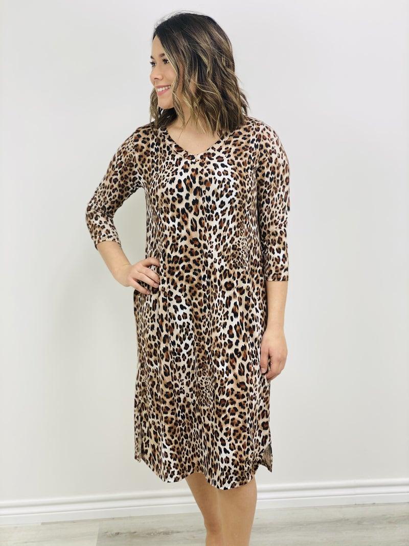 Long Sleeve Predator Print with V-Neckline Dress