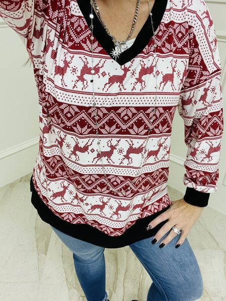 Sew in Love Long Sleeve Reindeer Top