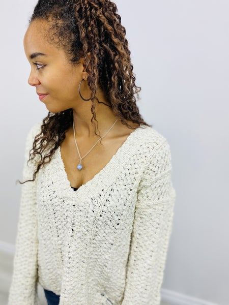 POL V-Neck Long Sleeve Sweater