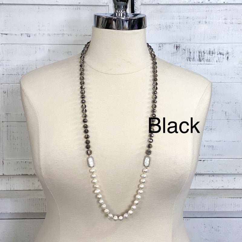 10MM Stone Beaded Necklace with Czech Crystals