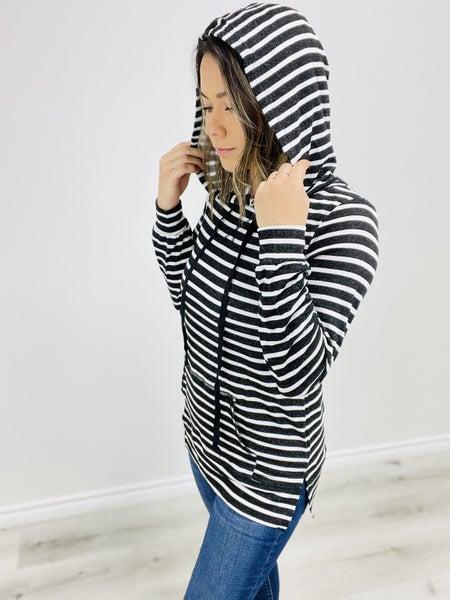 Long Sleeve Striped Hoodie