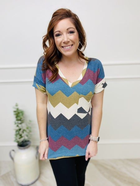 Cuffed Short Sleeve Top with V-Neckline