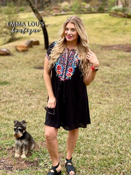 "Black V-Neck ""Loretta"" Dress with Embroidery"