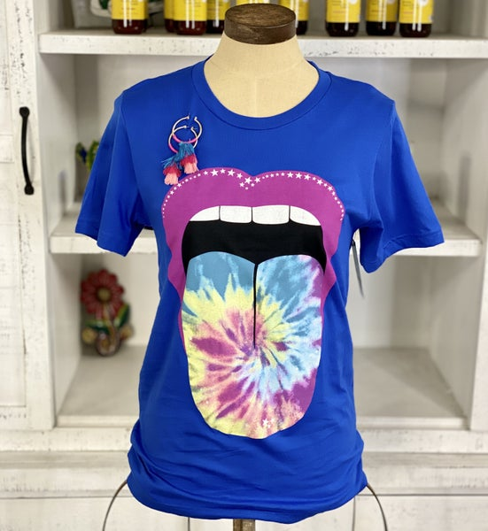 TIE DYE SWIRL LIPS GRAPHIC T-SHIRT