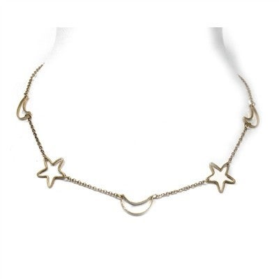 """Gold Open Star and Moon 17"""" - 19"""" Necklace"""