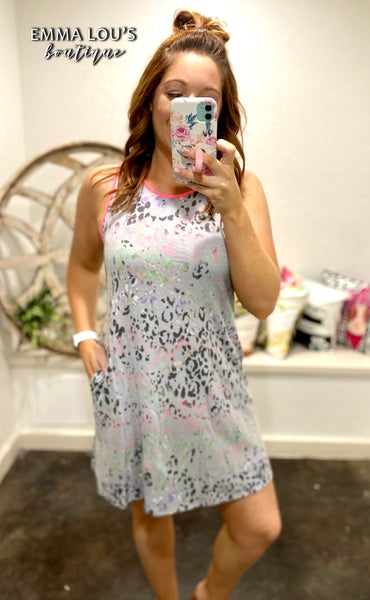 honeyme Sleeveless Grey Predator Print Dress with Neon Pink Trim with Pockets