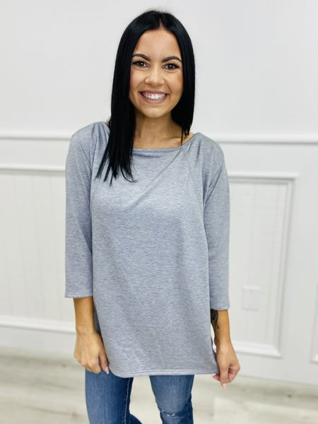 3/4 Length Sleeves Tunic Top with Stitch Details