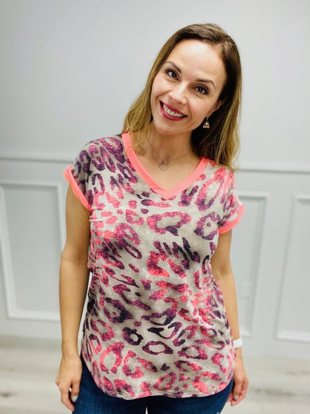 Short Sleeve Predator Print Top with Neon Accents