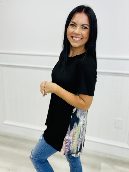 Feather Print Color Block Short Sleeve Knit Tunic Top