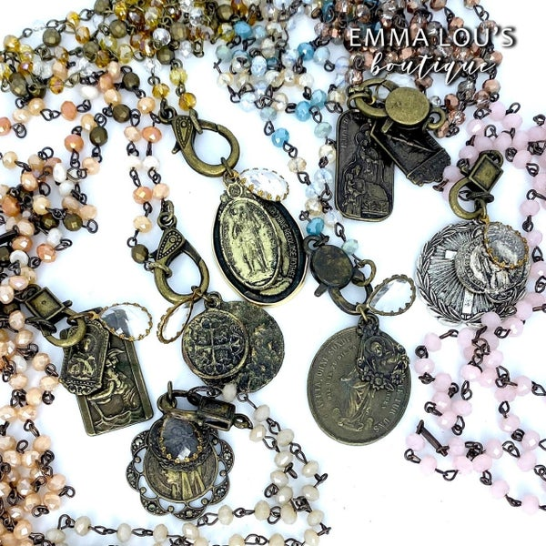 Melania Clara Long Beaded Necklaces with Lobster Claw and Religious Medallion