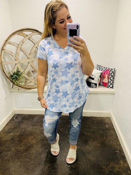 honeyme V-Neck Top with Blue Star Print