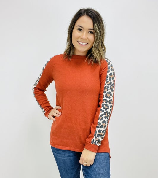 Long Sleeve Top with Cheetah Print Detail
