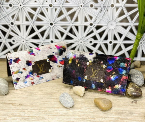 Rainbow Metallic Foil Upcycled Leather Checkbook Covers