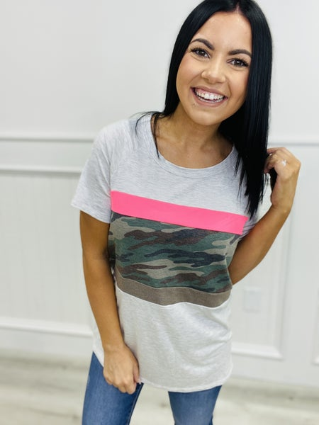 Short Sleeve Knit Top with Color Block Camo Print