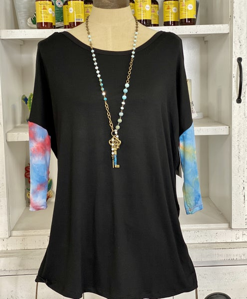 3/4 Sleeve Solid with Tie Dye