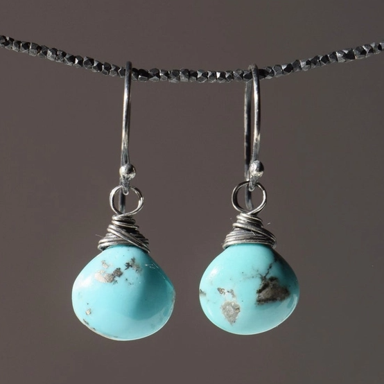 Silver Turquoise Antiqued Wire Wrapped Earrings