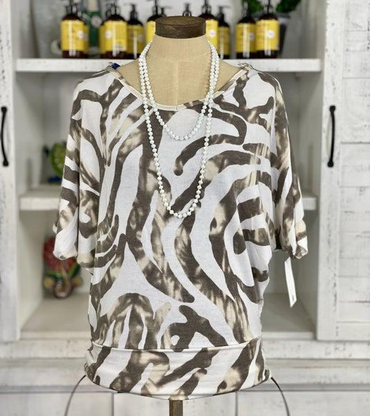 Zebra Print Short Sleeve Dolman Top