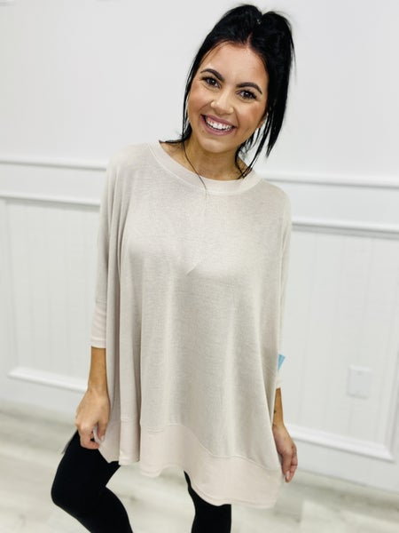 Oversized Solid Knit Dolman Style Top