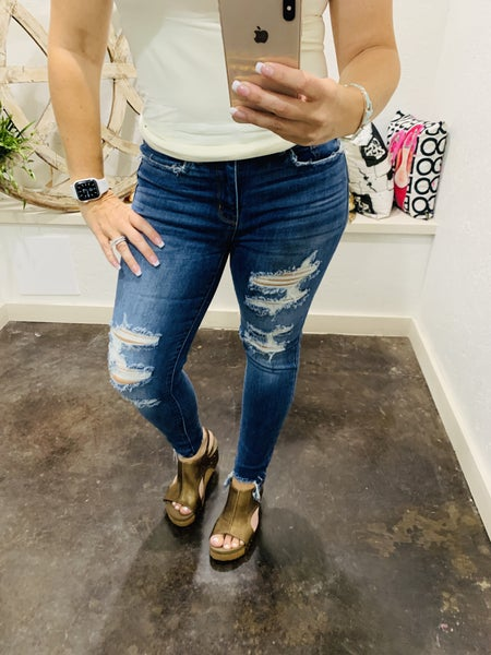 "Judy Blue 27"" Inseam ""Katrina""  High Waist Destroyed Skinny Denim Jeans"