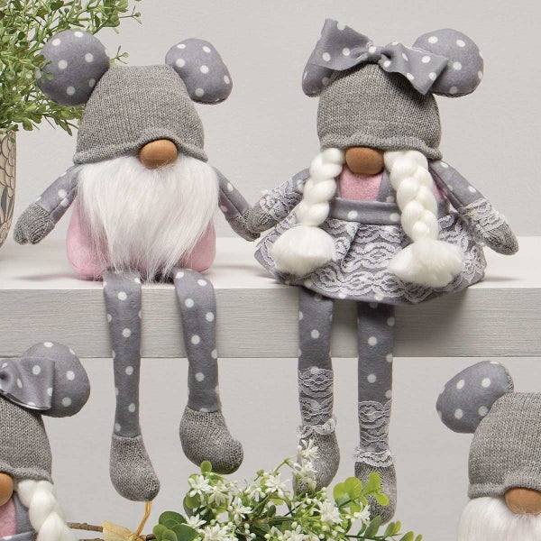 Set of 2 DOTTY AND DANY GNOME WITH GREY KNIT HAT, POLKA DOT MOUSE EARS