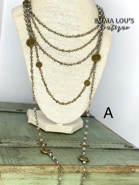 Melania Clara Evan Multi Chain Beaded Necklace