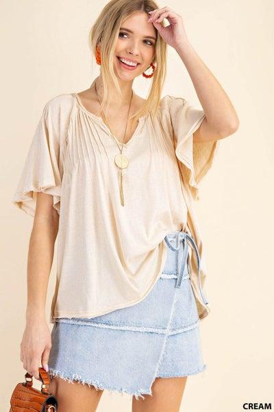 Soft Cotton Slub Fabric Short Sleeve Top with V-Neckline