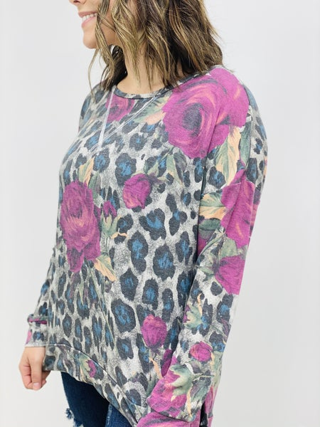 Long Sleeve Floral and Predator Print Top