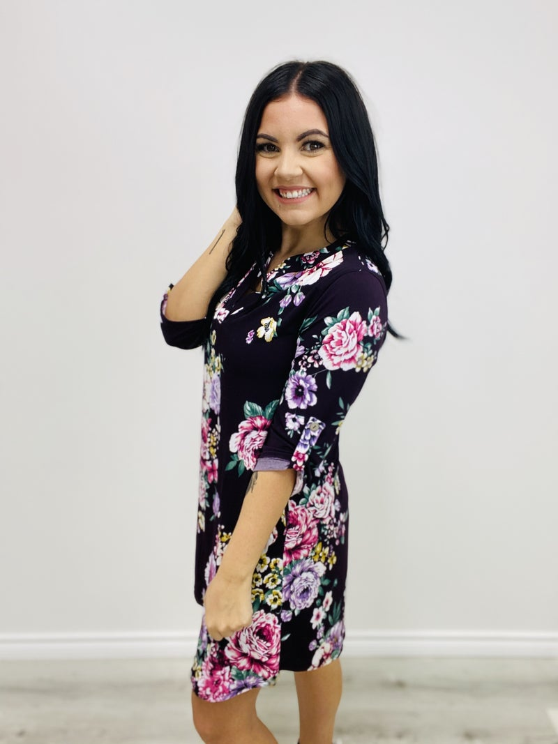 Short Sleeve Floral Print Knit Dress