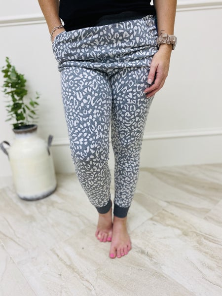 Animal Printed Tri Blend Jogger Pants with Drawstrings and Side Pockets